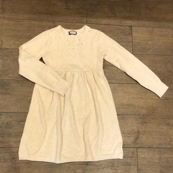 Children's Place Sparkly Gold Sweater Dress- 6x/7